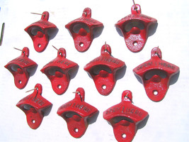 TEN Cast Iron Soda Bottle Opener Drawer Cabinet pull s 10 bz RED - $89.98