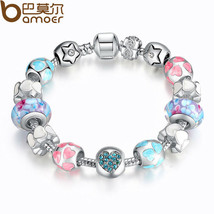 "925 Silver Heart Start Crystals ""LOVE"" Colorful Girl Murano Beads Bracelet - $12.00"