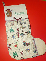 "Snowman Christmas Stocking Personalized Raeann 22""X13 Cotton Lace Embroi... - $24.99"