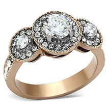 Stainless Steel Rose Gold 0.75 Ct Round CZ Halo Engagement Ring, Size 5-10 - $25.99