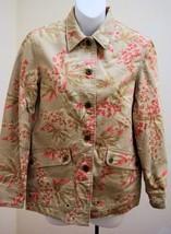 Jones New York Sz P XS Jacket Floral Pink Beige Jean Cotton Twill - $15.65
