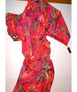 Womens New Designer Natori Night Long Robe S NWT Red Green Purple Silky ... - $190.00