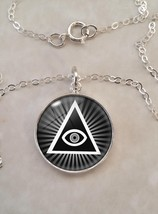 Sterling Silver Pendant Illuminati All Seeing Eye Pyramid - $30.50+