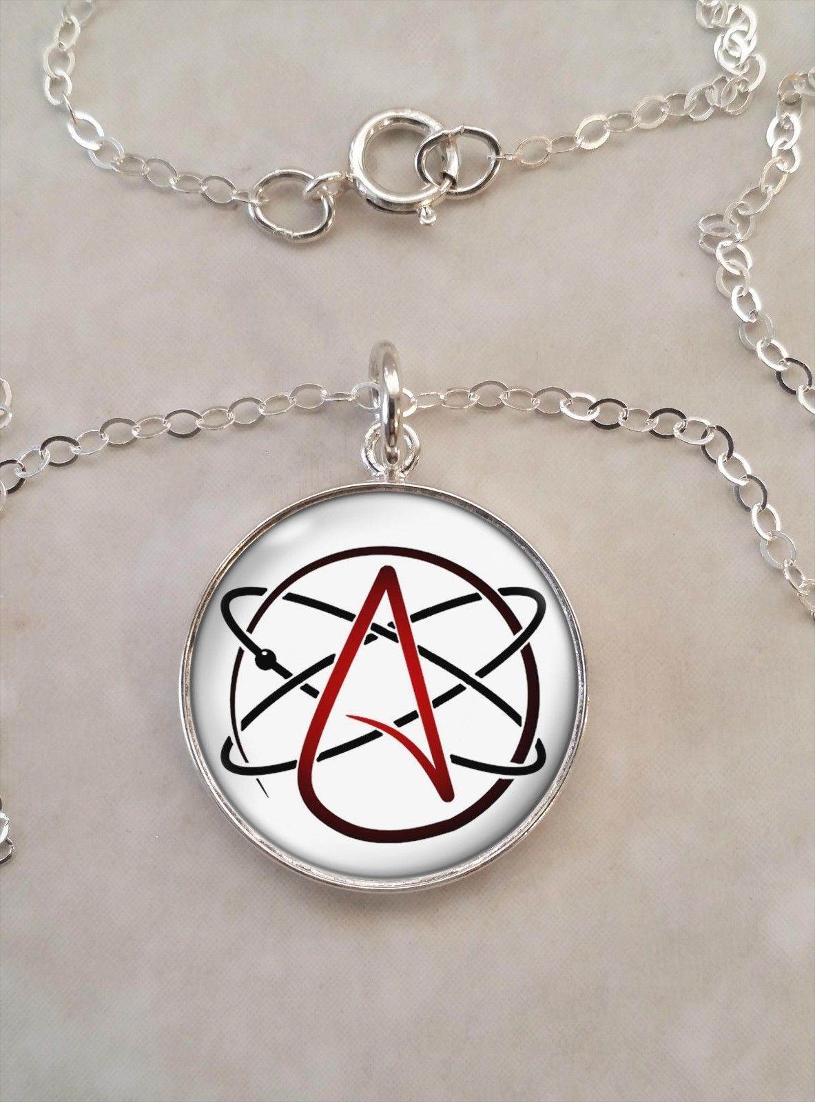 Primary image for Sterling Silver Pendant Atheist Molecule Atom Skeptic