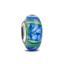 Fenton Art Glass Charm Bracelet Artisan Bead Blue Dahlia Sterling Silver... - $39.50