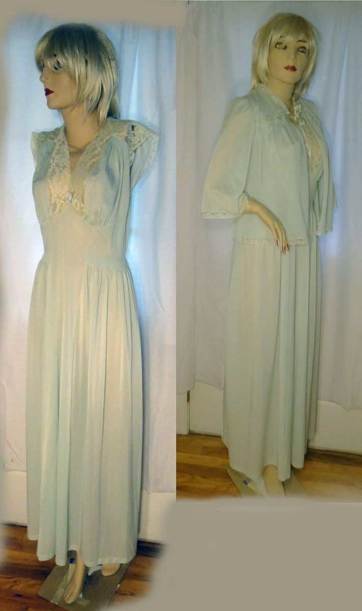 Primary image for 40s vintage nylon lace nightgown jadeite green ruched cap sleeve bed jacket M