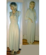 40s vintage nylon lace nightgown jadeite green ruched cap sleeve bed jac... - $28.00