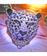 Haunted necklace SNOW LEOPARD SPIRIT INNER POWER OVERCOME MAGICK 925 CAS... - $57.77