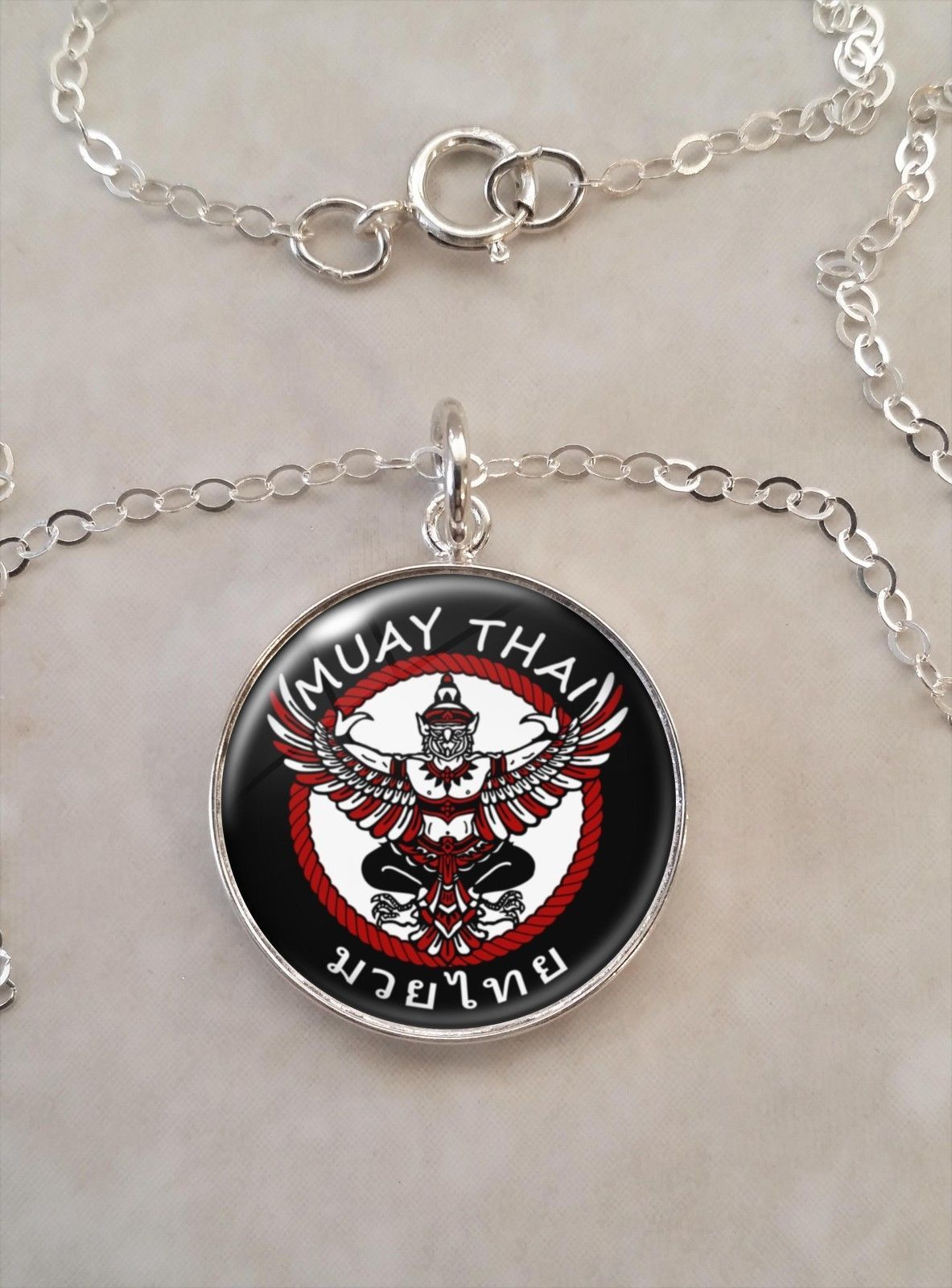 Primary image for Sterling Silver Pendant Muay Thai Martial Arts MMA Thai boxing