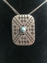 Vintage Signed Caroline Pin Pendant Brooch Faux Turquoise Silverplate - $18.32