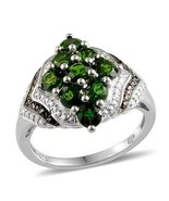 Russian Chrome Diopside Cluster Ring 3 carats  silver size 7 CHRISTMAS ... - $177.20