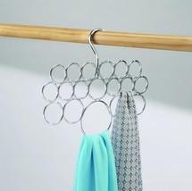 Interdesign Axis Scarf Holder Hanging Rack Organizer Chrome 18 Loop Rings - $16.33