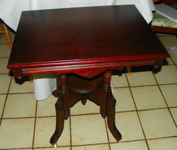 Solid Cherry Eastlake Carved Center Table / Parlor Table - $599.00
