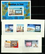 TCHAD 1976 IMPERF DELUXE SET & IMPERF S/S STAMP ON STAMP ZEPPELIN S11889 - $44.55