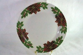Made In China Poinsettia And Holly Dinner Plate - $4.84