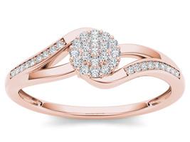 IGI Certified 10k Rose Gold 0.13 Ct Diamond Cluster Bypass Fashion Ring - $209.99