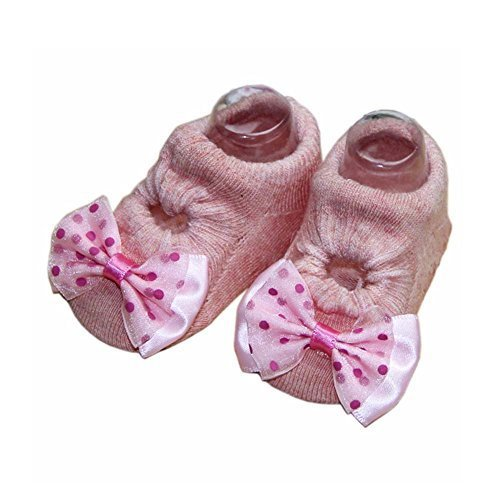 2 Pairs Bowknot and Dots Design Baby Girls Socks Cute Socks, Pink[D]