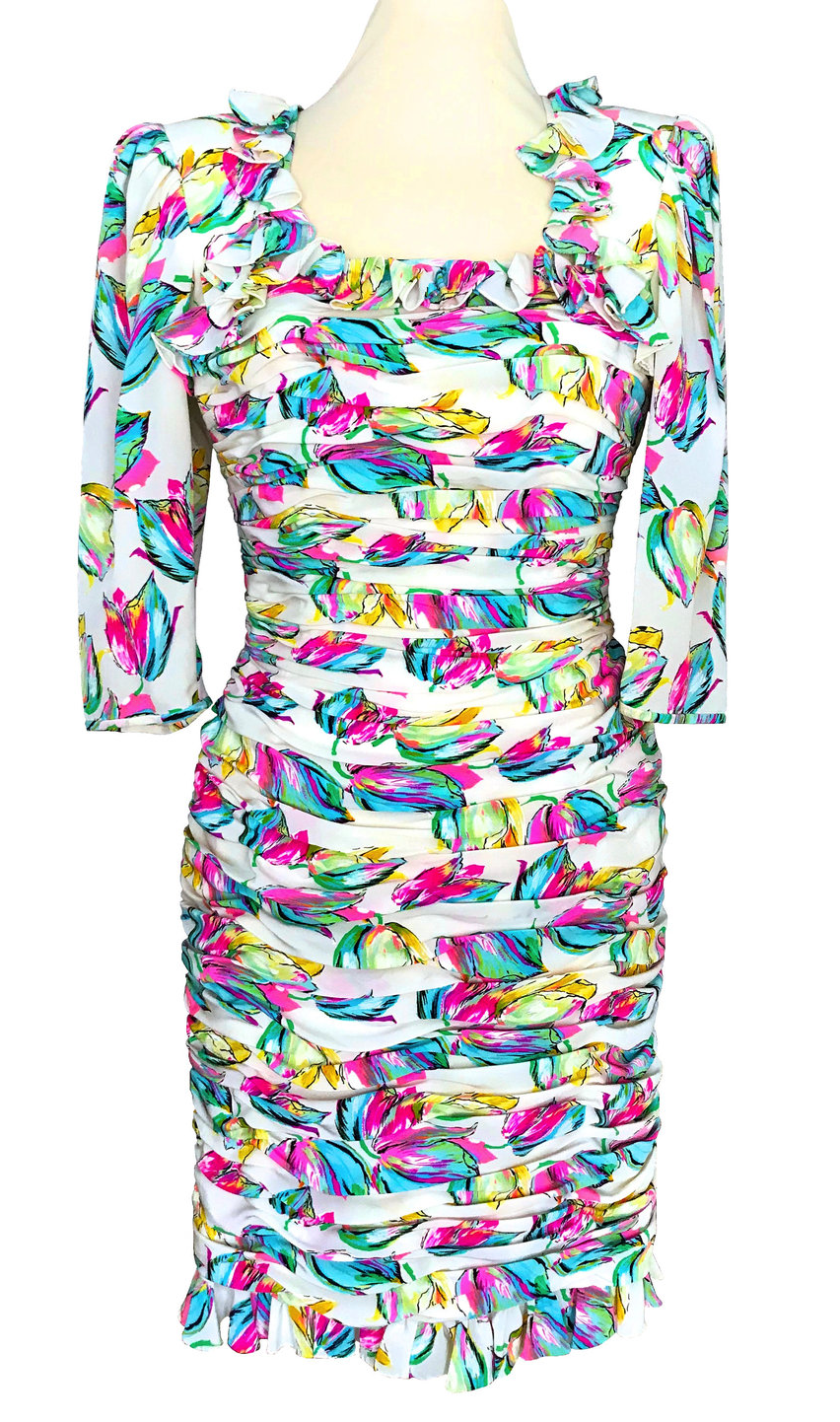 80s EMANUEL UNGARO 100% Silk French Vtg Abstract Print Neon Colors Ruched Dress