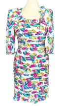 80s EMANUEL UNGARO 100% Silk French Vtg Abstract Print Neon Colors Ruche... - $415.00