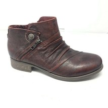 Earth Womens Ronan Garnet Booties Size 8 Red Leather Comfort Western Ank... - $49.49