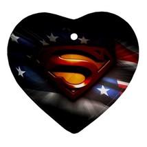 Heart Ornament - Superhero Superman Procelain Ornaments Christmas  - $4.49