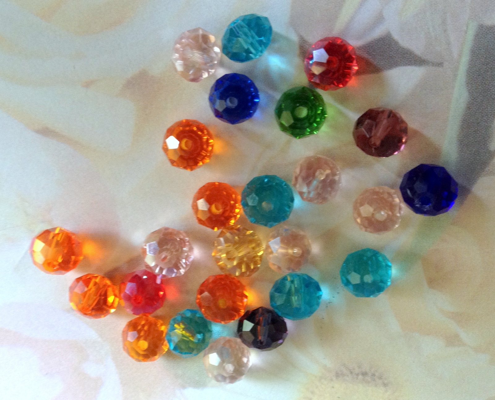 Multi-Colored Rondell Faceted Crystal Bead Lot of 25 Beading Crafting Last One