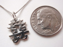 Small Chinese Character for Happiness Necklace 925 Sterling Silver Coron... - $14.97
