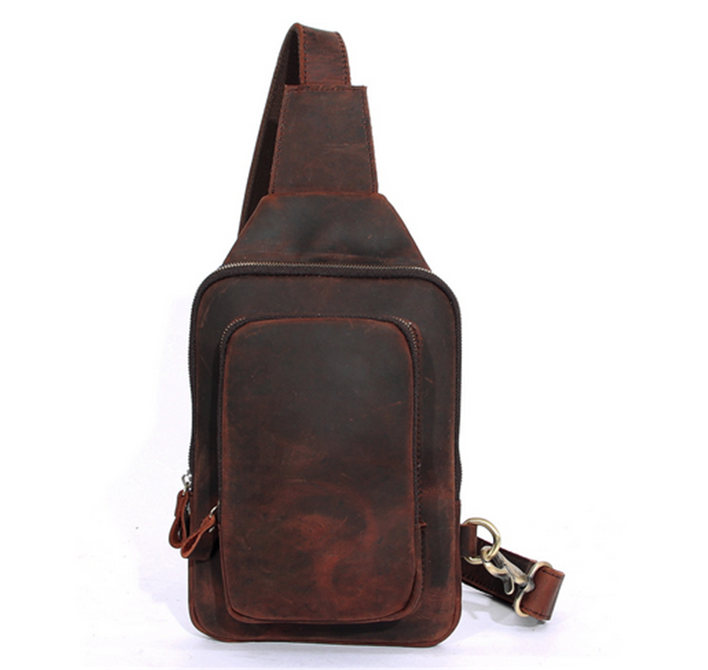 Chest bag men and women fashion first layer of leather hand-made croissants - $58.77