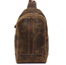 Chest bag men and women fashion first layer of leather hand-made croissants - $62.02