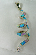 STERLING SILVER 925 WHITE, PINK & BLUE OPAL INLAY RIBBON SERPENTINE PENDANT - $81.18
