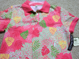 Palm Harbour S/S Polo Shirt Sz Ps Stretch Knit Coral Floral Print Nwt Free Ship - $8.61