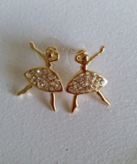Ballerina Goldtone Clear Rhinestone Earrings po... - $10.99