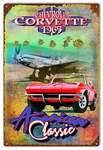 1965 Chevy Corvette Reproduction Metal Sign By Artist Phil Hamilton 12×18 - $21.78