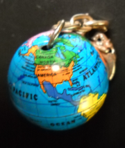 World Globe Key Chain Big Blue Globe with Continents Blues Yellow Pink White - $6.99