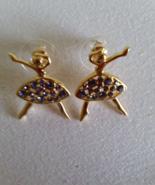 Ballerina Goldtone Purple Rhinestone Earrings p... - $10.99