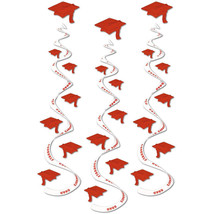 "Red graduation hat Hanging Swirls 3 dizzy danglers grad cap whirls 30"" long - $7.87"