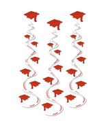 "Red graduation hat Hanging Swirls 3 dizzy danglers grad cap whirls 30"" long - $7.87"