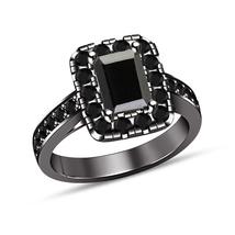 Emerald Cut Pave Black Diamond Engagement Wedding Ring 14k Black Gold Fi... - $75.99