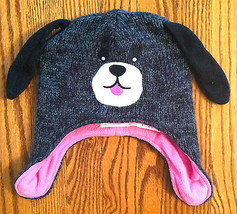 Girls The Children's Place Gray Pink Dog Hat Cap Ears Mouth Sz S M 4 5 6 7 Euc - $4.94