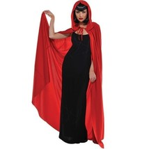 Hooded Adult Long Red Cape Witch RIding Hood - $23.74