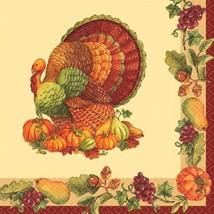 Joyful Thanksgiving 125 Luncheon Napkins Value Pack Fall Turkey - $19.94