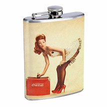 Flask 8oz Stainless Steel Classic Vintage Model Pin Up Girl Design-074 W... - $12.82