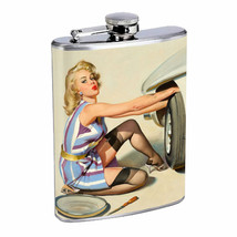 Flask 8oz Stainless Steel Classic Vintage Model Pin Up Girl Design-077 W... - $12.82