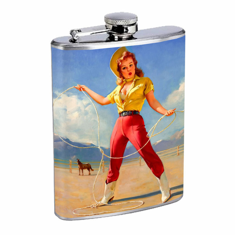 Flask 8oz Stainless Steel Classic Vintage Model Pin Up Girl Design-083 Whiskey