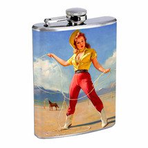 Flask 8oz Stainless Steel Classic Vintage Model Pin Up Girl Design-083 W... - $12.82