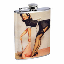 Flask 8oz Stainless Steel Classic Vintage Model Pin Up Girl Design-063 W... - $12.82