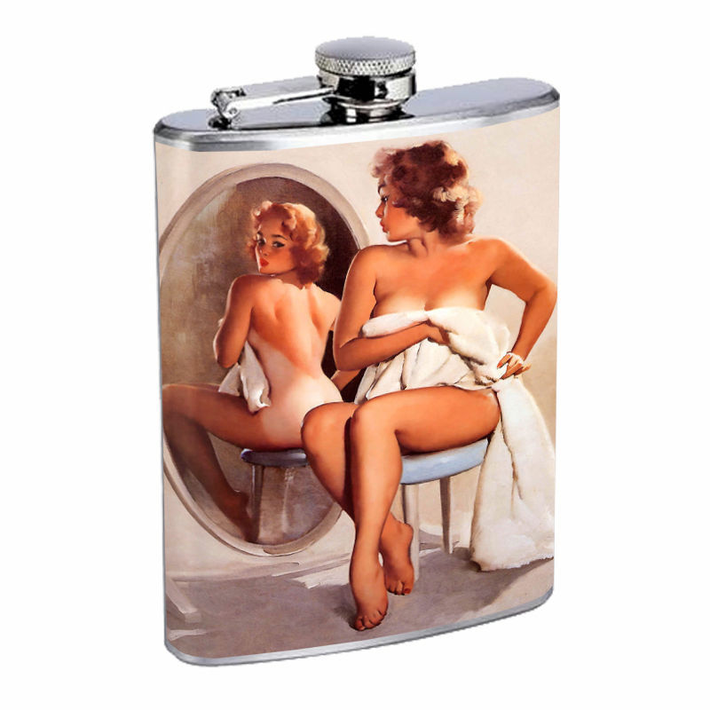 Flask 8oz Stainless Steel Classic Vintage Model Pin Up Girl D 79 Whiskey