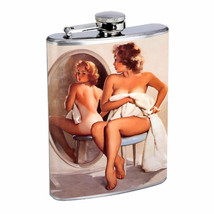 Flask 8oz Stainless Steel Classic Vintage Model Pin Up Girl D 79 Whiskey - $12.82