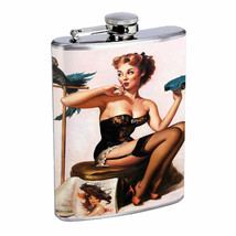 Flask 8oz Stainless Steel Classic Vintage Model Pin Up Girl Design-069 Whiskey - $12.82