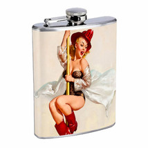 Flask 8oz Stainless Steel Classic Vintage Model Pin Up Girl Design-078 Whiskey - $12.82